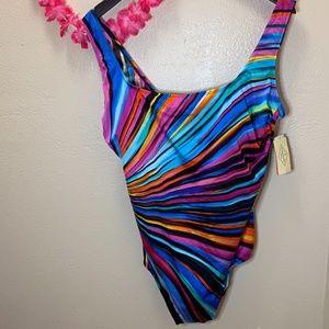 St. John's Bay One Piece Swim Suit Multi-colored